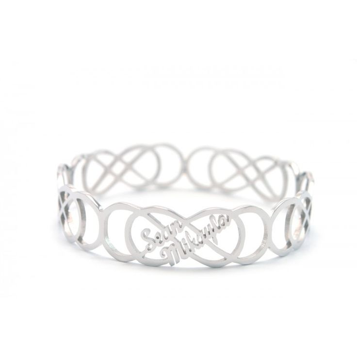 Personalised Endless Double Infinity Bangles  https://www.neatie.com/Personalized-Endless-Double-Infinity-Bangle  This intricate design is not only hand cut from scratch but it is a symbol of an everlasting bond. You can personalise it with up to 10 names on a double infinity or 5 on a single infinity. #Personalisedbangle #Infinitybangle #NameBangle