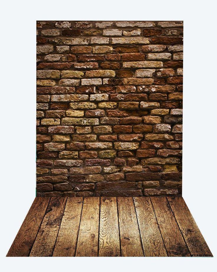 Kate Deep Brown Brick Wall Backdrop+Brown Wood Rubber floor mat