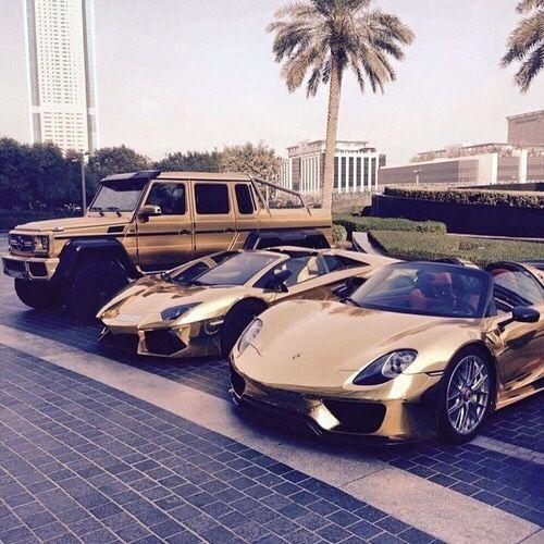 #BlackandGold Luxury Car Collection. Left -> Right   Mercedes-Benz G63 AMG   Lamborghini Aventador   Porsche 918 Spyder