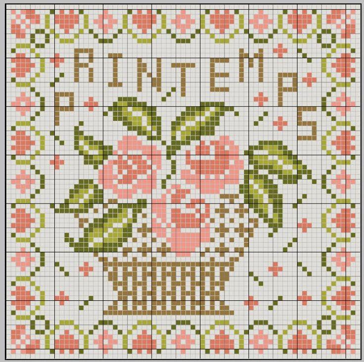 Flower Baskets Cross Stitch Charts : Best images about cross stitch pot basket on