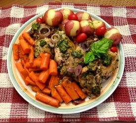 Pesto Chicken with Potatoes and Carrots (cooks for only 11 minutes!) My kids would like it with drumsticks instead of thighs.