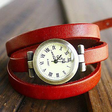 Frauen Weinlese-lange Strap-Art-Leder-Band-Quarz Analog Armband Uhr (verschiedene Farben) – EUR € 6.61
