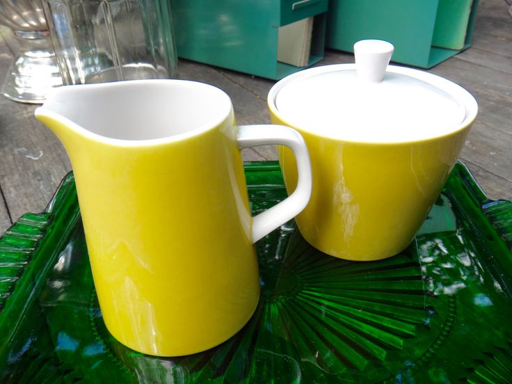 Creamer and Sugar, Mikasa Cera Stone, Yellow, 3997 Japan, MC Mod, Atomic, Servingware, Tableware, Coffee Set, Cream Sugar, Man Cave Decor by MaxsUniquities on Etsy