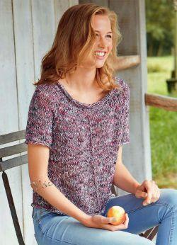 Пуловер реглан с короткими рукавами