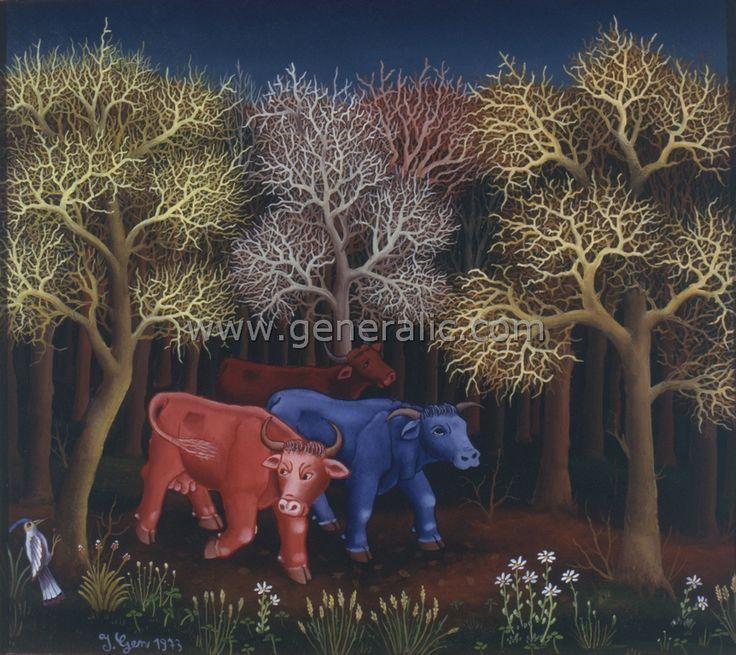 Three cows in woods ORI, oil on glass, Ivan Generalic