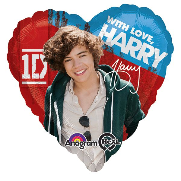 "Those other boys might be cute, but Harry makes your heart twitter! Show your 1D love with our One Direction Heart Balloon! This foil balloon features Harry and his signature, with the words ""with lov"