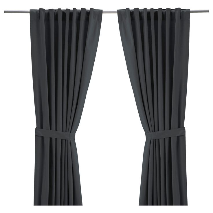 Ritva curtains with tie backs 1 pair gray brown wallpaper for Sliding glass doors 96 x 96