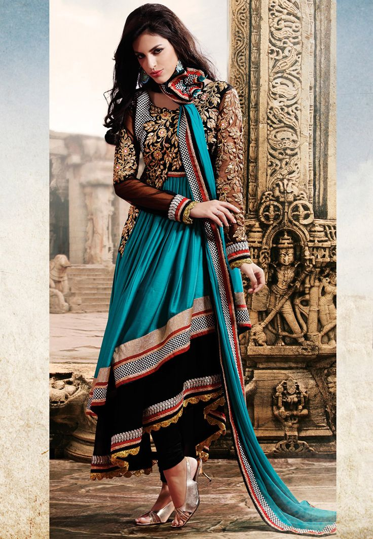 Teal Blue and Black Faux Chiffon and Faux Georgette Churidar Kameez Online Shopping: KSX1331
