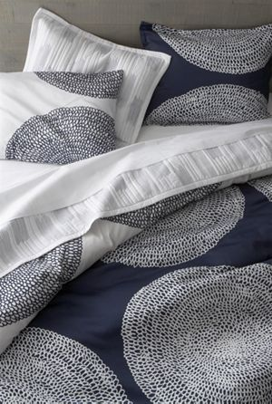 Navy Blue & White Duvet Cover - Crate & Barrel