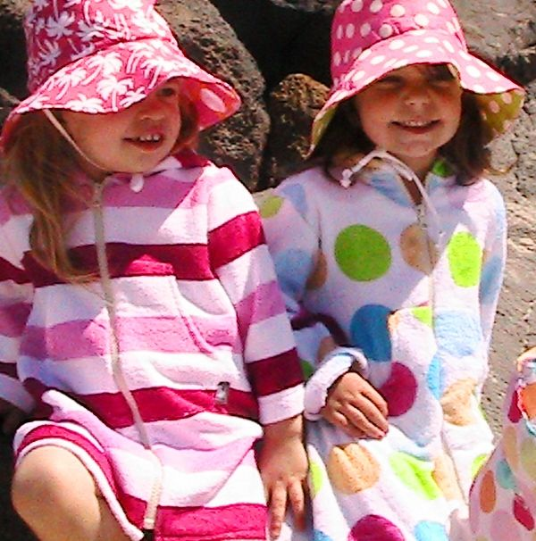 Bamboo Towelling Pink Stripe and/or Multi Dot Swim Robe, sizes Newborn to 10yrs. With hood, full sleeves, kangaroo pocket and fully opening front zip.