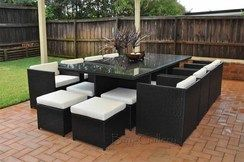 Charcoal(Almost Black) Wicker with White Cushions