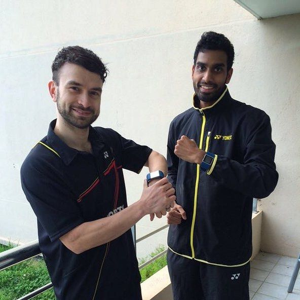 Getting ready for some badminton tournament action with Fitbit Surge it's GB's champs Rajiv Ouseph & Chris Langridge #beinspired #badminton #findyourfit by fitbiteurope
