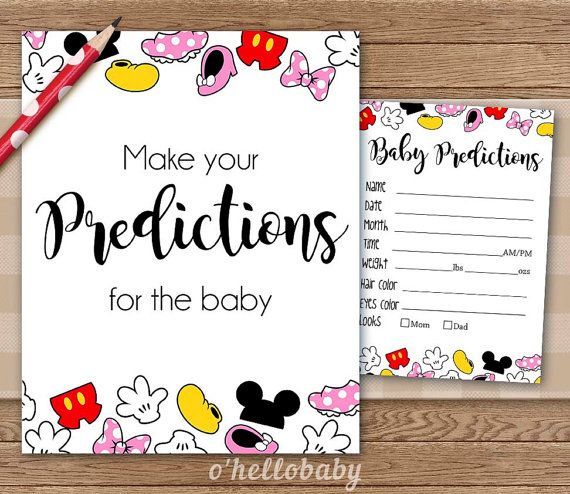 Predictions For The Baby   Disney Theme Baby Shower Games   Disney Baby  Shower   Gender Neutral Baby Shower   005