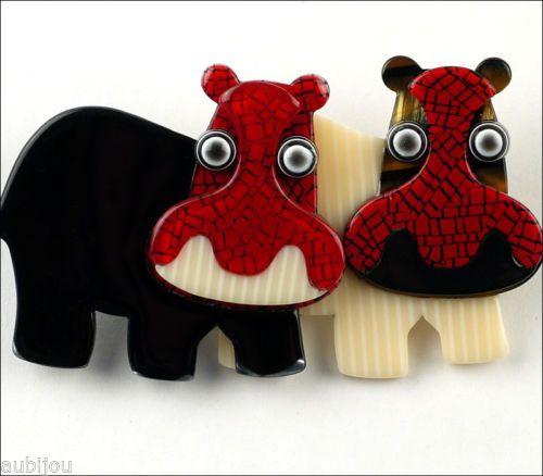 LEA-STEIN-RED-BLACK-WHITE-DOUBLE-HIPPOPOTAMUS-HIPPO-BROOCH-PIN-FRANCE-PARIS