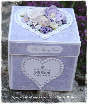 Kortparadis Kortpardis.blogspot.com Kort Card Håndlaget Handmade Homemade Scrapping Kortscrapping  stempel stempler stamp wedding box bryllup brullupsboks eksplosjonsboks