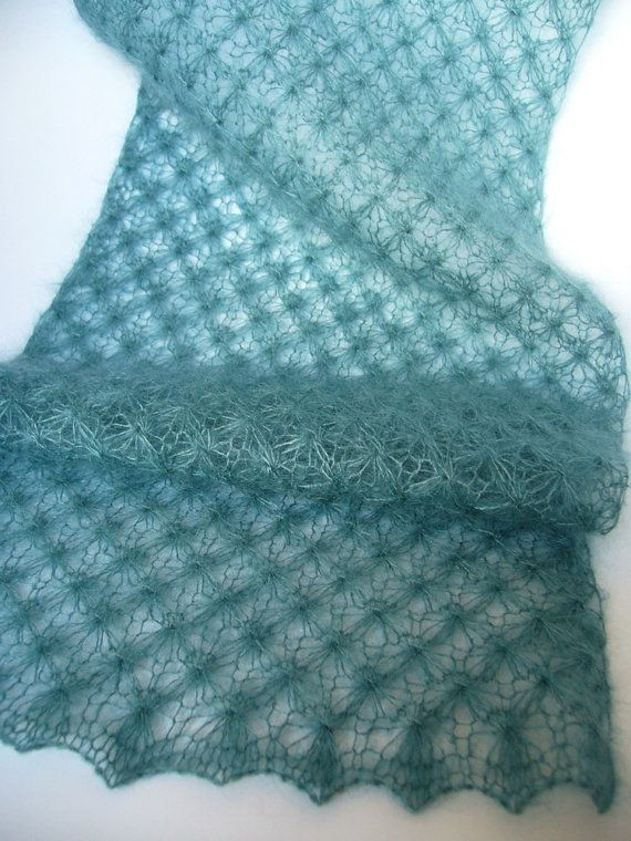 Teal hand knit mohair lace wrap .. This looks neat... I'm looking for a next project....  lace!