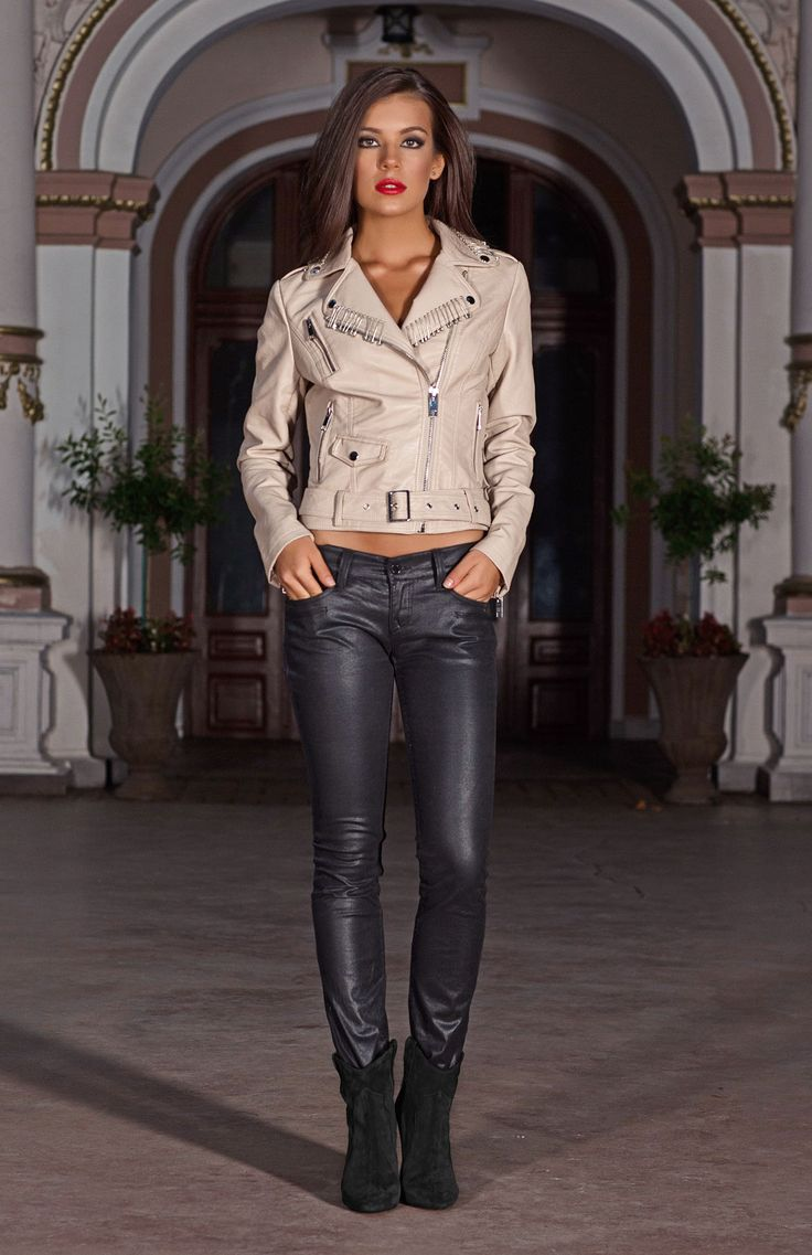 Soft beige adds a contemporary twist to a classic biker style jacket. Designed with metallic zips, poppers and an edgy safety pin trim to the collar and lapels. Layer over any outfit for chic style day or night.