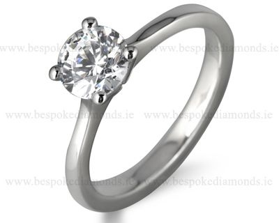 Classic round cut diamond engagement ring from Dublin jewellers Ireland set in 18k white gold and platinum