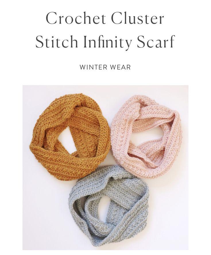 Crochet Cluster Stitch Infinity Scarf | Daisy Farm Crafts