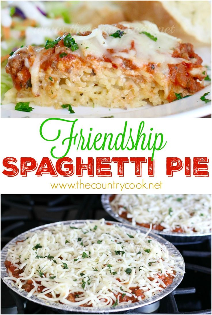 Friendship Spaghetti Pie recipe from The Country Cook. This turned out SO good. Make one & take one (or freeze for later.) One of the best pasta recipes I have made in a long time.  Layers of creamy spaghetti, meaty spaghetti sauce and gooey cheeses! (ad)