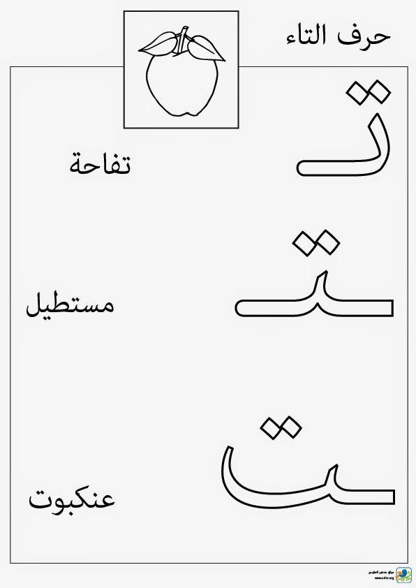 تلوين حرف التاء (حالات كتابة حرف التاء) - مشروع عصفور التعليمي