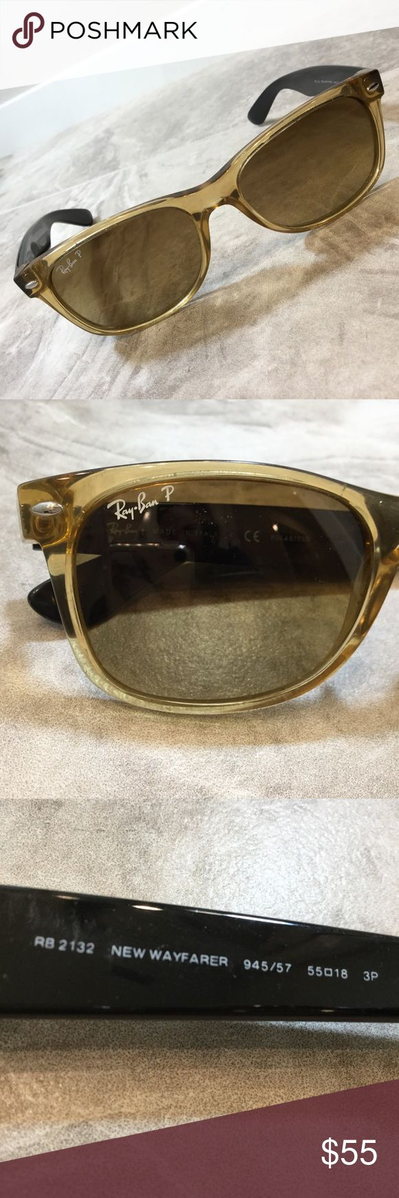 Ray Ban Polarized New Wayfarer Ray Ban P polarized New Wayfarer sunglasses in a translucent smokey quartz color with solid brown arms. Gently used. Ray-Ban Accessories Sunglasses