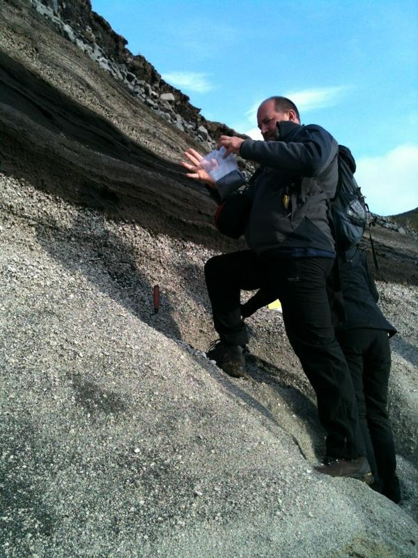 Researchers in the Swansea Tephra Group use 'tephra layers' (layers of material erupted explosively from volcanoes) to investigate past climatic events.  Here they're sampling materials erupted from Hekla volcano, at Trjávidarlækur, Iceland.