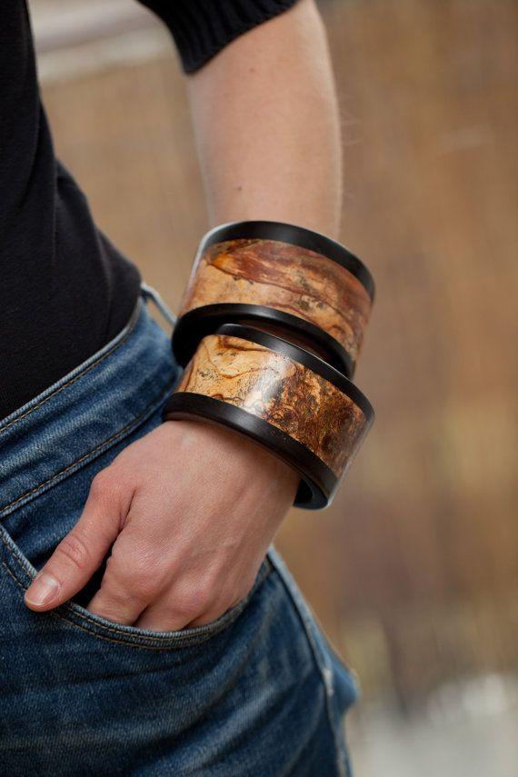 Wooden bangles Wooden bracelets Jewelry set Jewelry by vzorko