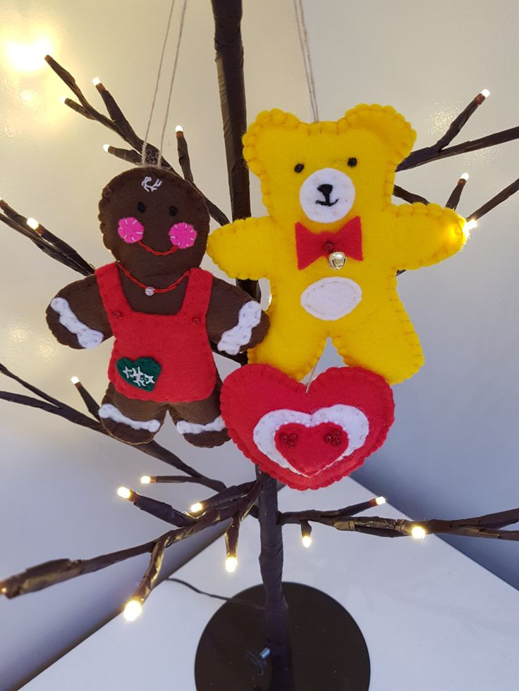 Mrs Gingerbread with Ted and Heart - Christmas Ornament, Stocking filler, Tree hanging by HandmadeWinterDesign on Etsy