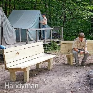 How to Build a Campfire Bench - This simple, sturdy campfire bench is perfect for the back yard or cabin. Build it with your kids this weekend and it'll last for their kids.