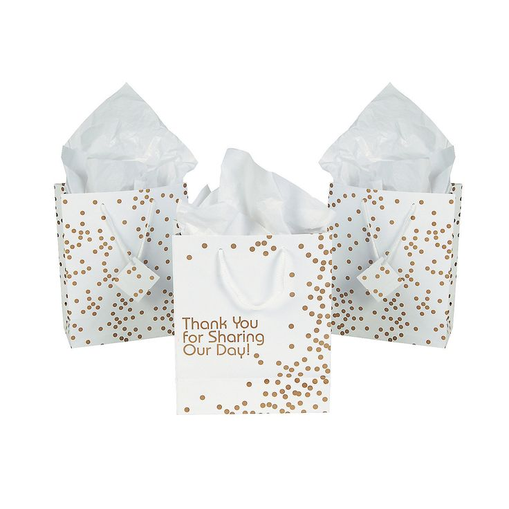 Medium Gold Wedding Dot Gift Bags - OrientalTrading.com $7.25 per dozen