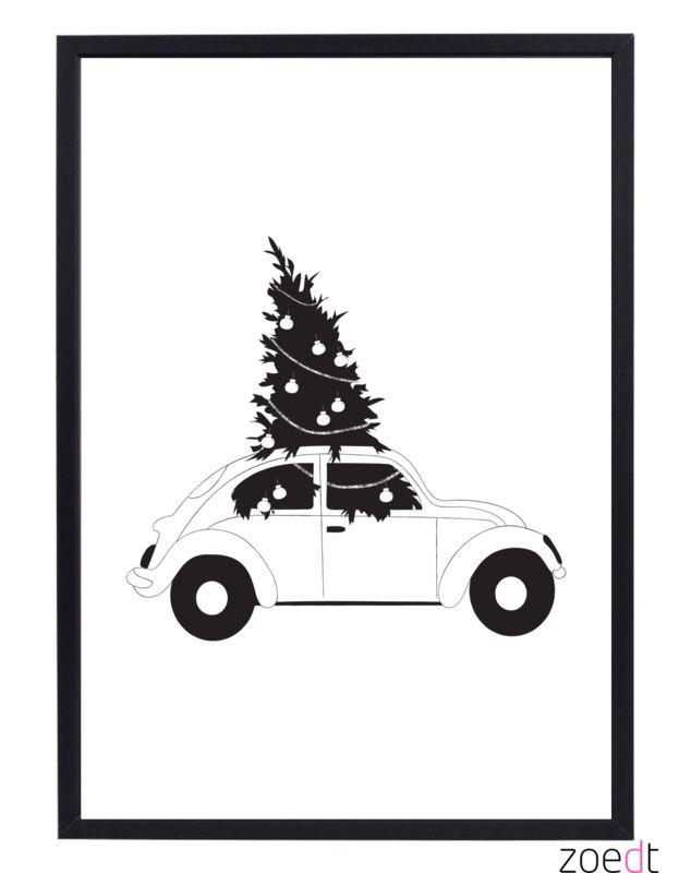 Kerst Poster Met Auto En Kerstboom Kerst Kerstposter Kerst Kaarten