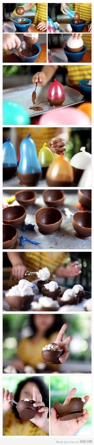 good idea for birthday party! dip balloon into chocolate and let it dry comes out to be a perfect ice cream cup, just the right size.