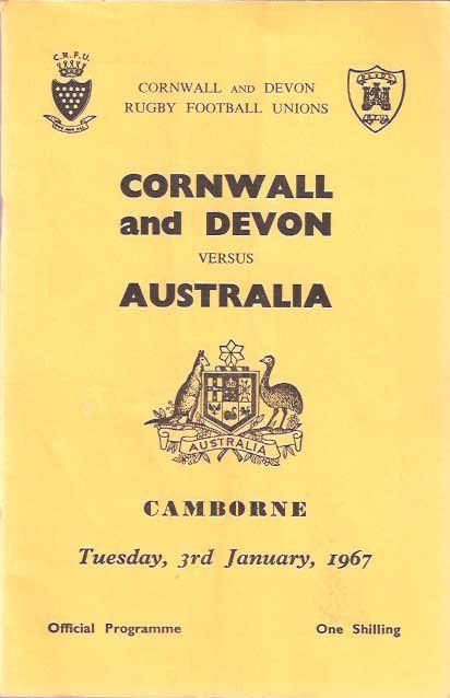 CORNWALL AND DEVON VS AUSTRALIA (1967) | Camborne, Cornwall: Program for the rugby match. Australia won 11-6.     ✫ღ⊰n