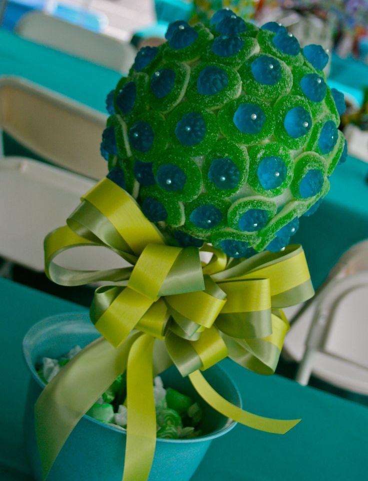 Blue Green Razberry Gummy Bear Candy Land Centerpiece Topiary Tree, Candy Buffet Decor Arrangement Wedding, Mitzvah, Party Favor, Edible Art. $46.99, via Etsy.