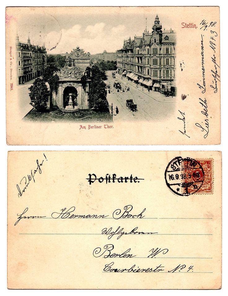 1898, 16.9., Ansichtskarte, Stettin, Am Berliner Thor, gelaufen | eBay