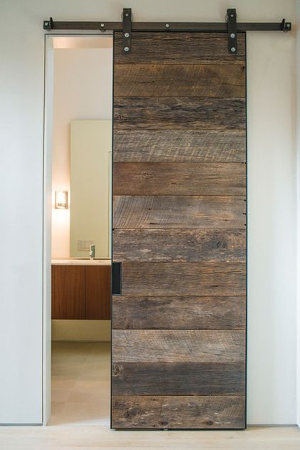 modern bathroom by NIMMO American Studio For Progressive Architecture, a pallet wood sliding barn style door.