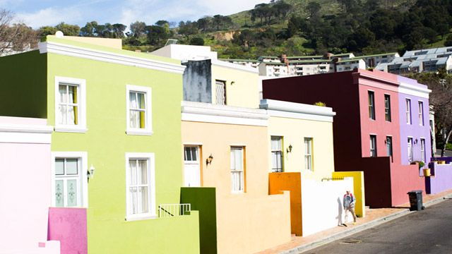Colourful exteriors in Bo-Kaap, Cape Town.