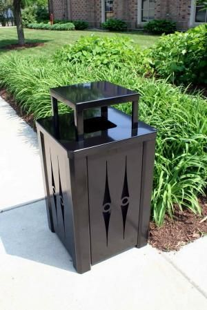 32 Gallon Metal Trash Can with Optional Ashtray or Rain Cover S8030