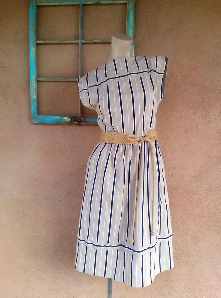 Vintage 1980s Dress Striped Cotton Shift 80s Shift Dress B34 US6 2016111 - pinned by pin4etsy.com