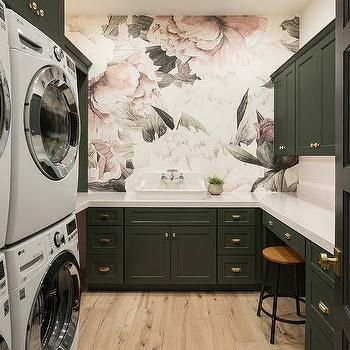 Pink and Black Rose Wallpaper with Black Laundry Cabinets