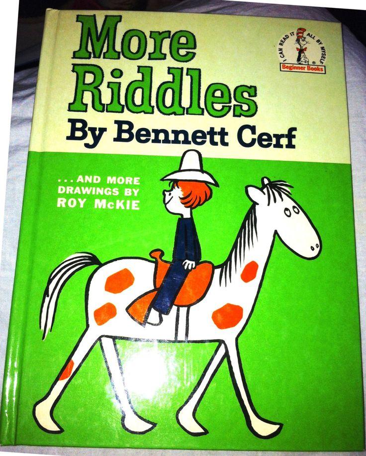 MORE RIDDLES by Bennett Cerf 1961c MINT Beginner Books by Thriftnstyle on Etsy