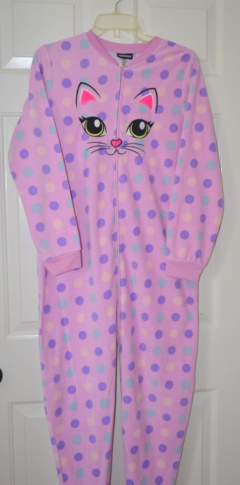 Womens Sz XL/EG JOE BOXER pink Polka Dot One Piece Hooded Foot Pajamas  kitten #JOEBOXER #FootedPajamas #Everyday