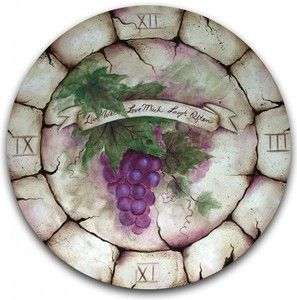 clock face with grapes.