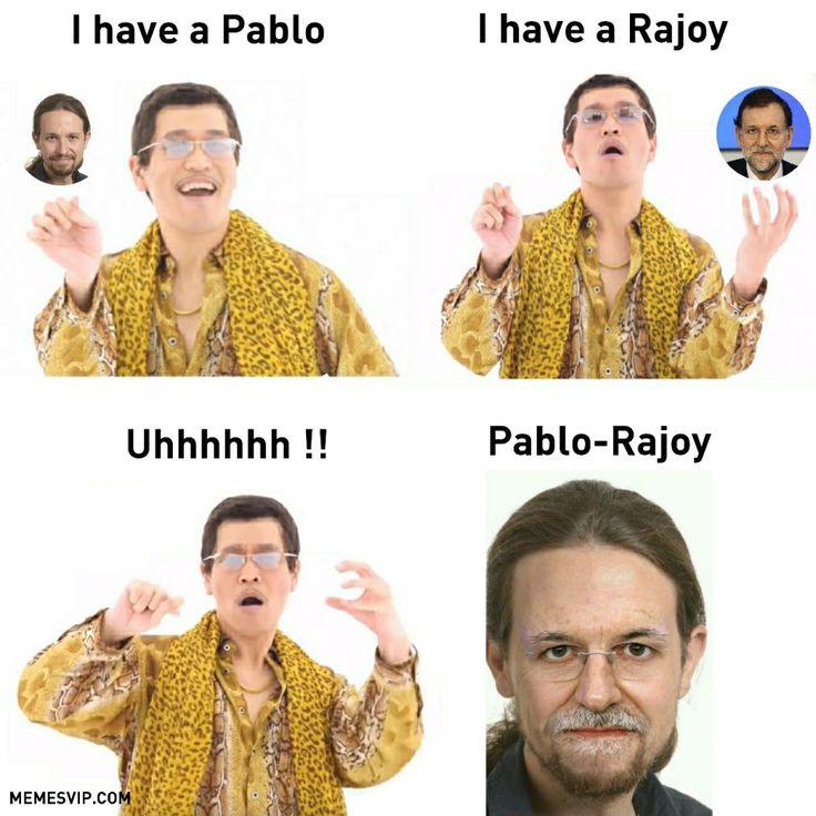 Meme PPAP Pablo Iglesias Rajoy #ppap #pabloiglesias #marianorajoy #podemos #partidopopular #meme #politica