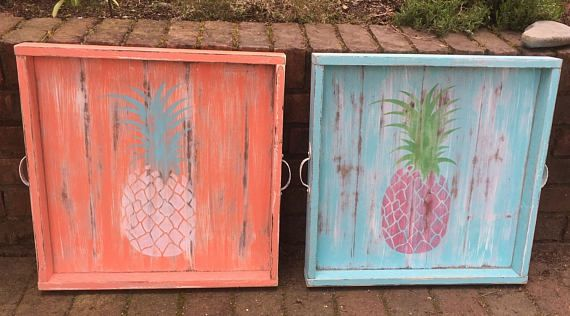 Ottoman Tray Large Turquoise or Coral Pineapple Tropical