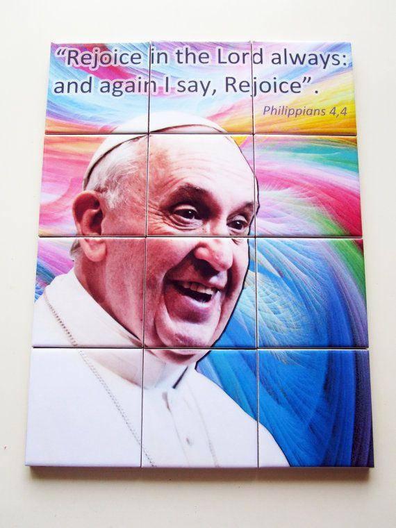 Catholic gifts - Pope Francis Wall Art - tile mural - Mosaic - christian wall decor - devotional gift - Pope Bergoglio - Pope wall art