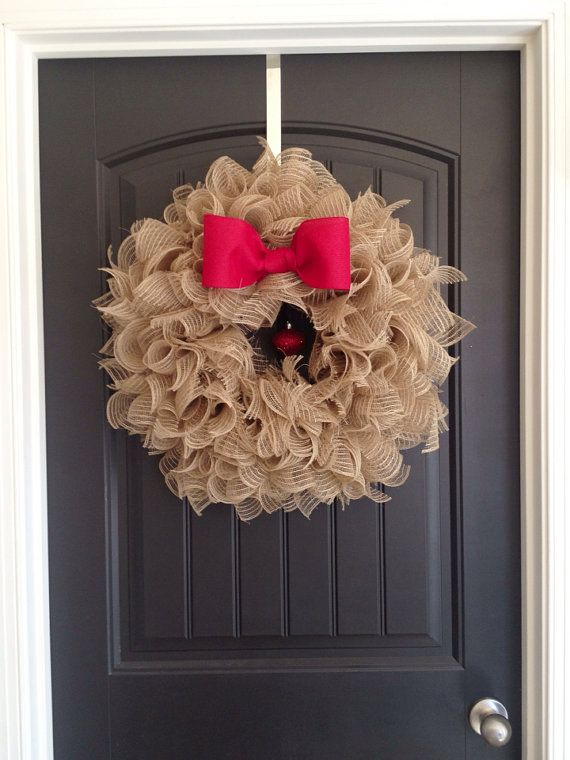 Burlap Mesh Wreath. Christmas Wreath.  by AllAboutMeatloaf on Etsy