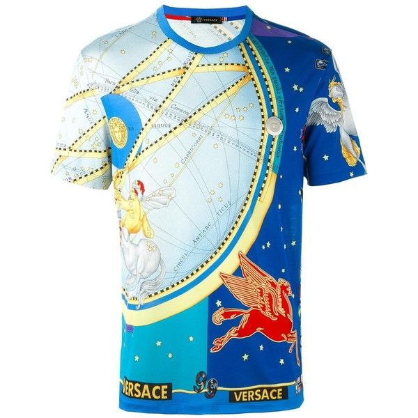 Versace 'Astrological' print T-shirt ($645) ❤ liked on Polyvore featuring men's fashion, men's clothing, men's shirts, men's t-shirts, blue, versace mens t shirt, mens short sleeve shirts, mens patterned t shirts, mens blue shirt and versace mens shirt
