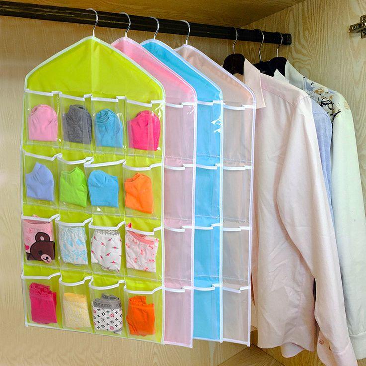 Creatieve Gelukkig Geschenken Housekeeping Opslag Houders 16 Pockets Clear Opknoping Tas Sokken Beha Ondergoed Rack Hanger Organizer